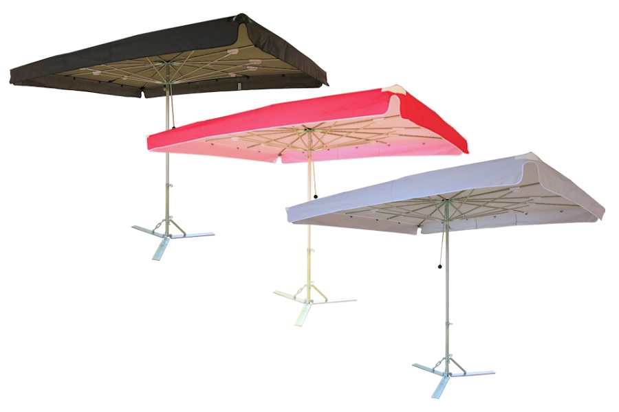 Verena parasol, aluminium parasol, marktparasol, kleine parasol, lichte parasol, handige parasol effen