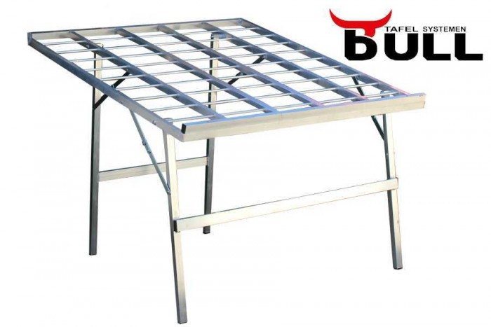 Bulltafels, verkooptafels aluminiumtafel markttafel klaptafel verkooprek schuin hoog 120x120