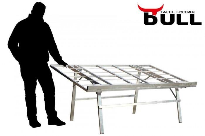Bulltafels, verkooptafels aluminiumtafel markttafel klaptafel verkooprek schuin , fruitrek AGF tafel 200x120 schuin