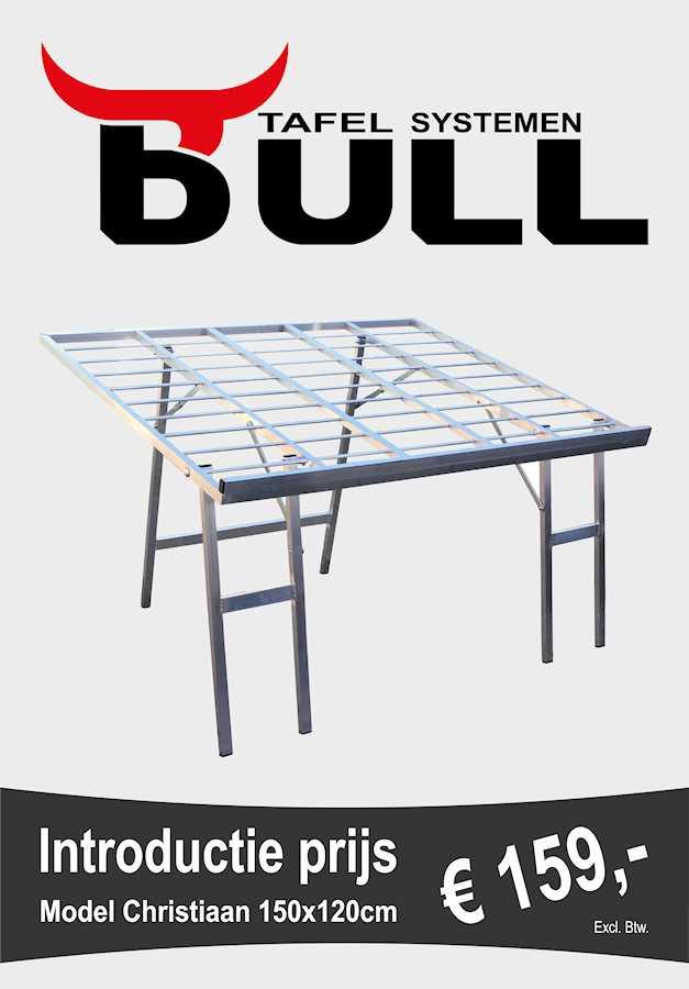 Bulltafels, verkooptafels aluminiumtafel markttafel klaptafel verkooprek schuin hoog 150x120
